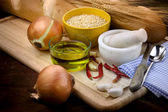 Bread preparation ingrediants — Stock Photo