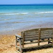 Single Bench By Lake - Stock Photo