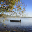 Single Boat On The Lake — Stok fotoğraf