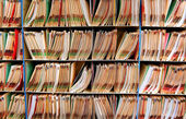 Medical record files in the shelf — Stock Photo