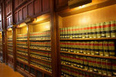 Law books in the shelf's of library — Stok fotoğraf