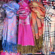 Hanging scarves - Stock Photo