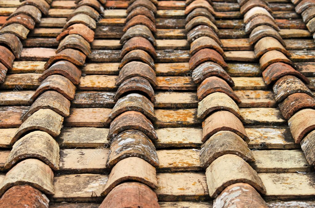 Perspective of old red roof clay tiles  Stock Photo #10652245