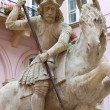 Saint George riding his horse - Stock Photo