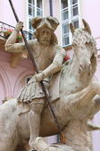 Saint George riding his horse — Stock Photo