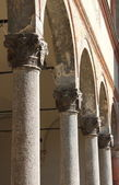 Columns in row inside a church — Stock Photo