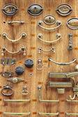 Bronze and brass door knobs — Stock Photo