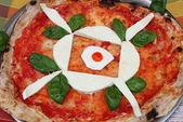 Pizza with mozzarella — Stock Photo