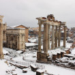 Roman Forum under snow - Stock Photo