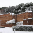 Surrounding walls of Rome under snow — Stock Photo