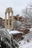 Roman Forum under snow — Stock Photo