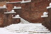 Winter snow on staircase — Stock Photo