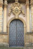 Entrance door of a baroque style church — Stock Photo