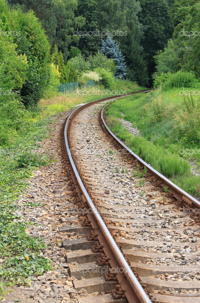 Railway line disappearing into a curve — Stock Photo #9653205