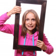 Woman Holding Blank Frame — Stock Photo