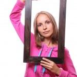 kvinna innehav Tom ram — Stockfoto