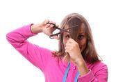 要砍她的长头发的女人 — 图库照片