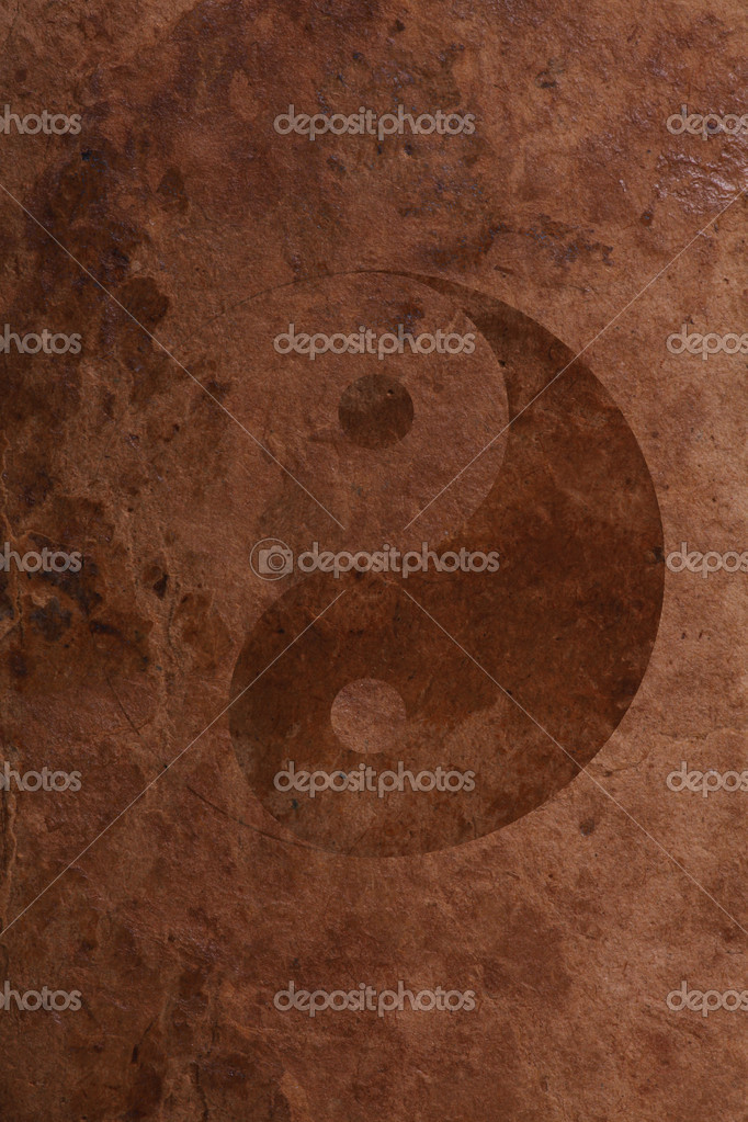 Yin Yang Symbol on old brown paper background — Stock Photo #10724430