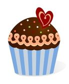 Chocolate Cupcake with heart — Stock Vector