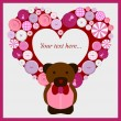 Royalty-Free Stock Vector Image: Very cute postcard with heart and teddy bear