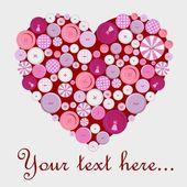 Düğmeleri itibaren kalp ile çok sevimli kartpostal — Stok Vektör