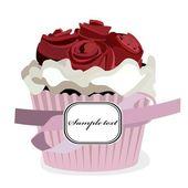 白い背景で隔離のバラのカップケーキ — ストックベクタ
