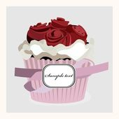 Postcard with cupcake With Roses, Isolated On White Background — Stock Vector