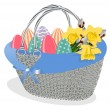 Basket with bouquet of spring flowers and color eggs - Stock Vector