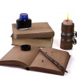 Old style writing set with a candle — Stock Photo
