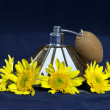 Stock Photo: VINTAGE PERFUME SPRAYER WITH YELLOW FLOWERS
