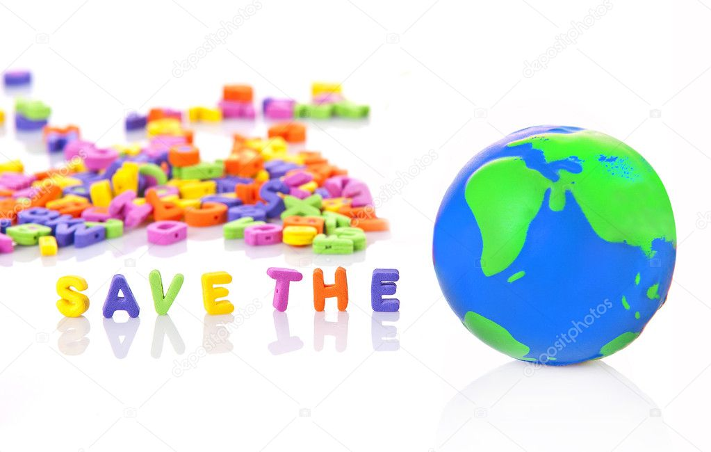 Save the world, save the planet from foam letters, and foam globe — Stock Photo #8174789