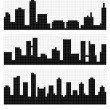 Pixel Art City Skyline — Stock Vector