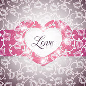 Love Heart Floral Background Vector Illustration — Cтоковый вектор