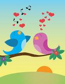 Birds_in_love — Vector de stock