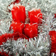 Stock Photo: Red Christmas candles and toys