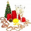 Christmas toys and Christmas tree with candles — Stock Photo