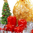 Red Christmas candles and toys - Foto Stock