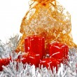 Red Christmas candles and toys — Stock Photo #8240524