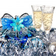 Glasses of champagne on New Year toys - Foto Stock