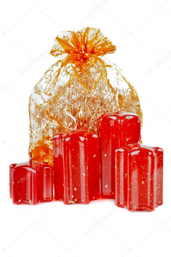 A bag of gifts with candles  Stock Photo #8240506