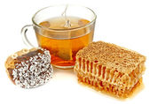 Tea and biscuits with nuts — Stock Photo