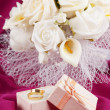 Stock Photo: Wedding bouquet and rings for Valentine's Day