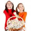Girl friends give a bouquet of flowers — Stock Photo