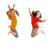 Two little girls played and jumping — Stock Photo