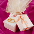Stock Photo: Wedding rings for Valentine's Day