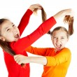 Stock Photo: Girls quarreled and insulted each other
