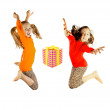 Stock Photo: Two little girls played and jumping
