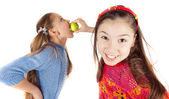 Girl friends played and indulged — Stock Photo