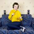 Girl listening to music on headphones — Stock Photo #9065530