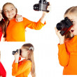 Girl friends played and photographed — Stock Photo
